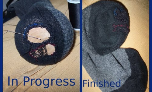 "On the left-hand side, a sock in the process of being darned.  It is stretched over a ""mushroom"" (a wooden thing - shaped like a shiitake, or maybe a portobello, mushroom - in order to make the process easier.  On the right-hand side, the same sock (and its mate) once the darning is done.  This took about 3.5-4 hours, most of which was spent on the first (upper) sock which had much, much bigger holes in it."
