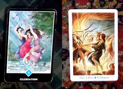 "On the left is the 3 of Water from my Osho Zen deck. On the right is the 4 of Bows from my Wildwood deck. Both cards are named ""Celebration"" and both images involves women dancing joyfully with each other alongside a powerful representation of the element in question (A thunderstorm for Water, a bonfire for Bows)."
