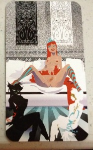 Tarot of the Silicon Dawn Egypt Urnash Maya (Card 8.5) An intersex babe having some fun D/s sexytimes with her two lovers/submissives. My kind of card.