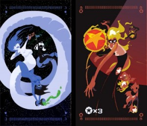 Tarot of the Silicon Dawn (Egypt Urnash) Left = Three of Water (A trio of intergalactic snake people, entwined and having a jolly good time together). Right = Eight of Fire (A fire-haired video game character pitching a flaming pentacle at the viewer while gaining extra hit points).