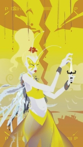 Princess (Page) of Swords - Tarot of the Silicon Dawn - A person with antenae sprouting from her forehead, a red flower in her long, piled up, blond hair, and a yellow butterfly painted across her eyes, examines a knife, fingering the point. She's wearing a long, flowing skirt (that might be wings) and a yellow crop top.