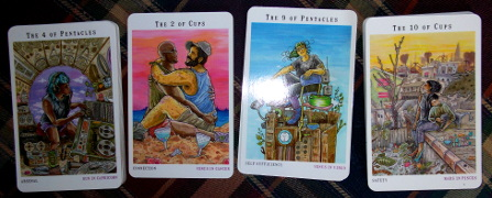 Next World Tarot (Cristy C Road) - Arsenal (4 of Earth), Connection (2 of Water), Self Sufficiency (9 of Earth), and Safety (10 of Water).