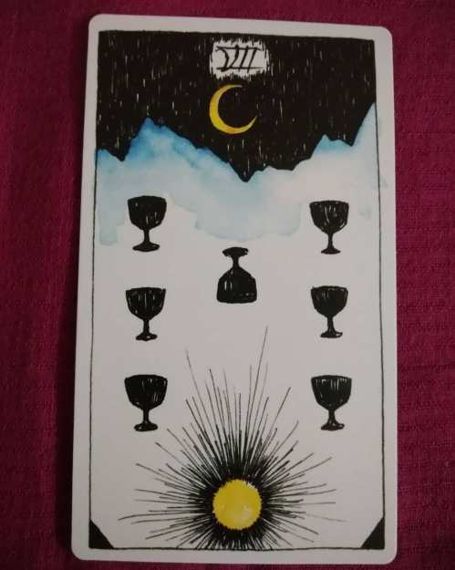 PRESENT - Seven of Cups - Wild Unknown Tarot - A card that can be read as night or day; snow-covered mountains or silhouetted crags; six full cups and one flipped over or six upturned cups and one still full; a crescent moon, or a bright sun to light the scene.
