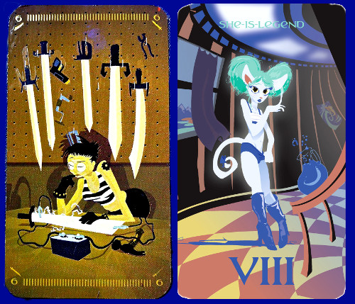 Silicon Dawn - On the left, the 6 of Swords (a smith working in her workshop, five swords hung on the wall behind her, while she works the sixth using an electric current. On the right, She Is Legend (VIII - one of the bonus cards in the Silicon Dawn deck), a genderfluid love-cat in tiny clothing, possibly planning to dance all night at an house-based rave.