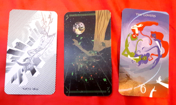 Tarot of the Silicon Dawn - Maiden of Fools (R), Princess of Earth (R), and The Lovers (U).