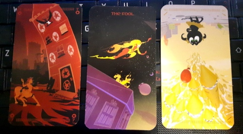 Tarot of the Silicon Dawn - 7 of Fire, + 4th Fool + 99 of Air