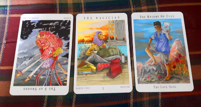Next World Tarot - PAST Three of Swords, Reversed - PRESENT Magician, Uprights - FUTURE Knight of Cups, Upright