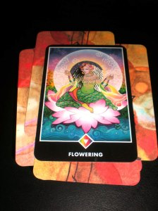 Flowering - Queen of Earth, Osho Zen Tarot - a woman with black and white hair, wearing a green dress and a flower crown, sits, cross-legged on a floating pink lotus. A full moon(?) rises behind her.