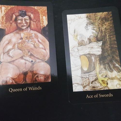 Mary El Tarot - Queen of Wands, Ace of Swords