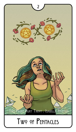 Someone with teal and brown hair, in a green tank top, tries to juggle two pentacles without dropping them