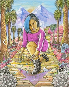 "Next World Tarot - King of Pentacles - Someone with blue and black hair, motorcycle boots, and a pink mini-dress scatters jewels on a Hollywood Walk of Fame star labeled ""Daddy""."